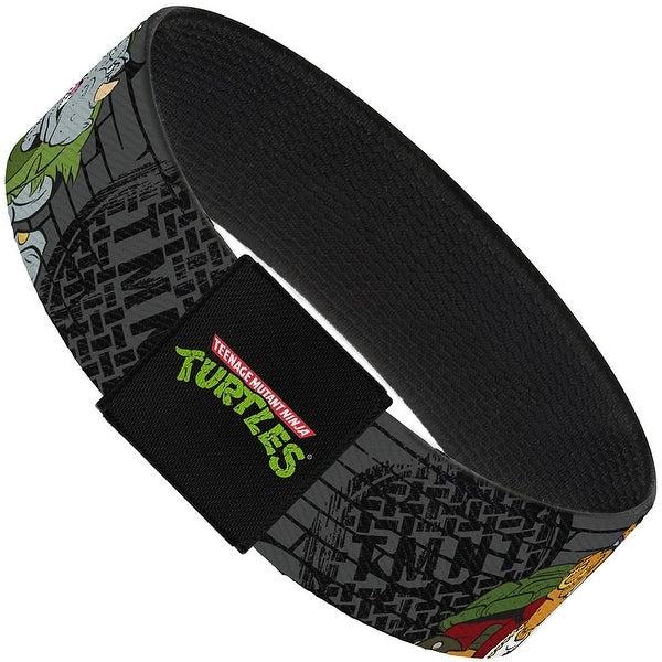 Tmnt Rocksteady & Bebop Poses Bricks Gray Black Elastic Bracelet