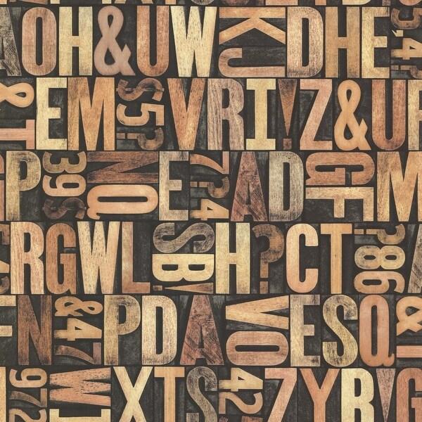 Brewster 2604-21250 Letterpress Sand Typography Wallpaper - N/A