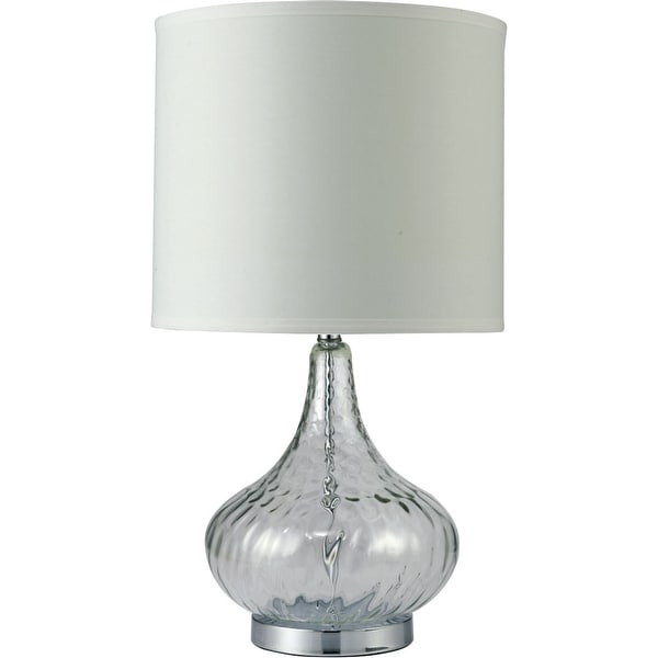 Gracewood Hollow Ajanovic Clear Bulbous Glass Lamp w/ Cream Drum Shade. Opens flyout.