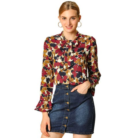 Women's Tie V Neck Blouse Long Trumpet Sleeve Floral Shirt - Red