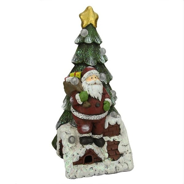 "19.5"" Battery Operated LED Lighted Santa Claus and Christmas Tree Table Top Decoration - multi"