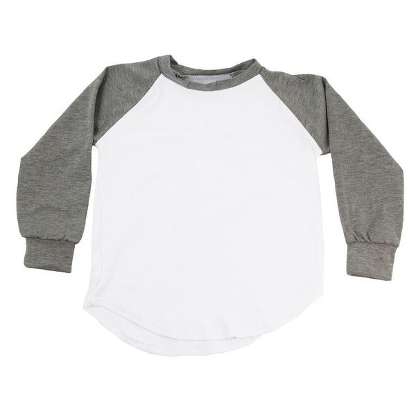 Unisex Baby Gray Two Tone Long Sleeve Raglan Baseball T-Shirt