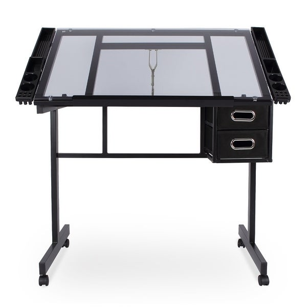 Adjustable Drafting Drawing Craft Table Art Glass Desk w//Storage Drawers Black