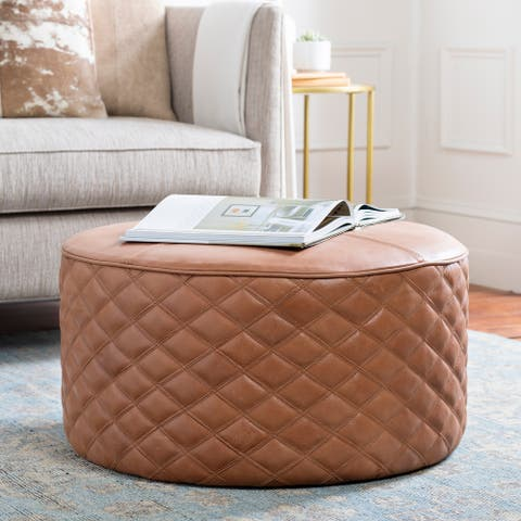 Monica Leather Quilted 28-inch Round Ottoman