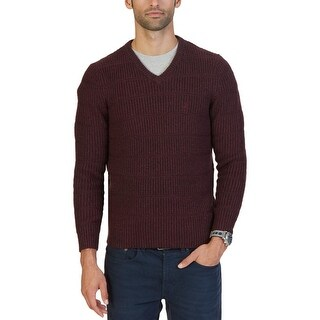 Nautica Mens Pullover Sweater Ribbed V-Neck