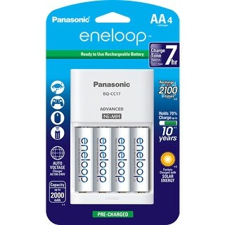 Panasonic Eneloop AA Size NiMH Rechargeable Battery K-KJ17MCA4BA w/ With Individual 4-Position Charger