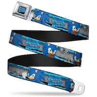 Sonic Boom Logo Full Color Black Gray Blues Sonic Boom 3 Sonic Poses Seatbelt Belt