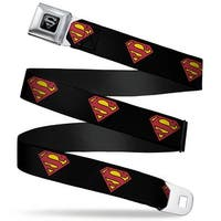 Superman Black Silver Superman Shield Black Webbing Seatbelt Belt Fashion Seatbelt Belt