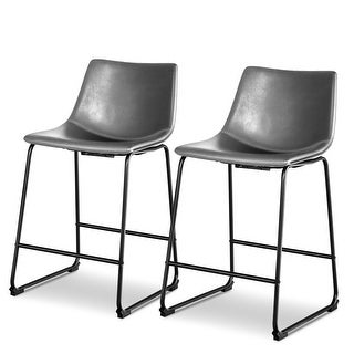 Costway Set of 2 Vintage PU Leather Barstools Counter Height Stools w/ Metal Legs Gray