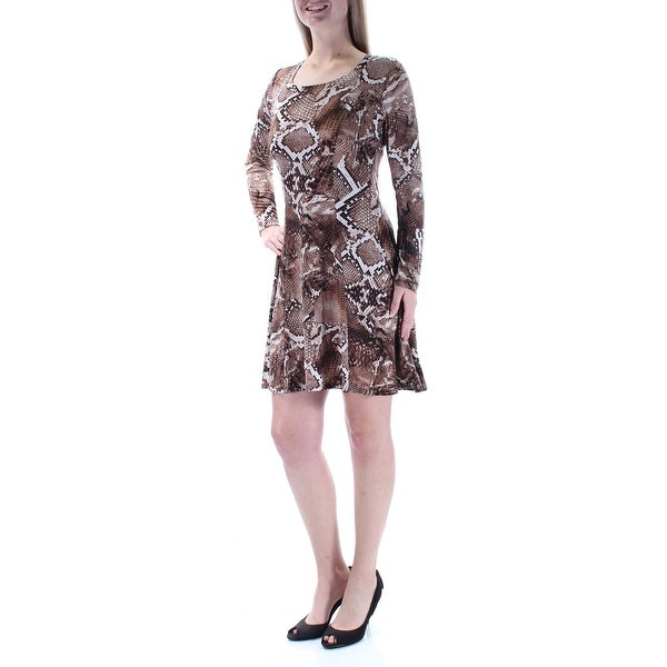588ba6793e7b Shop KAREN KANE Womens Brown Animal Print Long Sleeve Scoop Neck Mini Fit + Flare  Dress Size: L - Free Shipping On Orders Over $45 - Overstock - 22646737