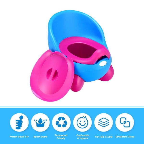Costway Toddlers Potty Training Toilet Chair Splash Guard Detachable Seat Boys Girls - Blue
