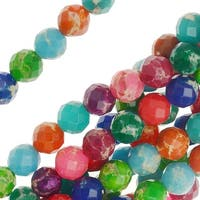 Impression Jasper Gemstone, Faceted Round Beads 6mm, 16 Inch Strand, Multi-Color