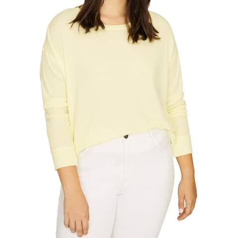 Sanctuary Womens Daybreak Thermal Top Pastel Yellow Size 1X Plus Crew