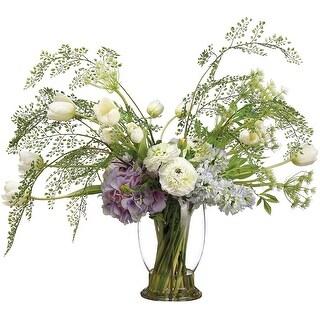 26 Inch TallHydrangea / Tulip/ Ranunculus / Fern in Glass Vase