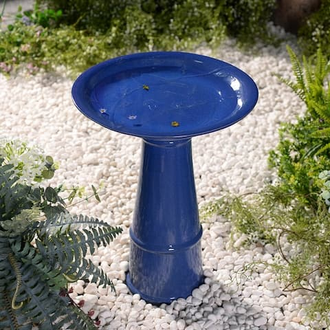 """Bridgeton Ceramic Glazed Bird Bath - 17"""" x 22"""""""