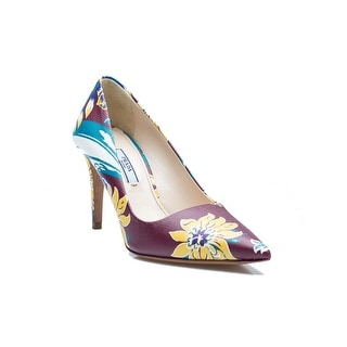 Prada Women's Floral Leather High Heel Shoes - 7