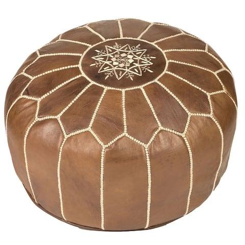 Handmade Leather Pouf Ottoman (Morocco)