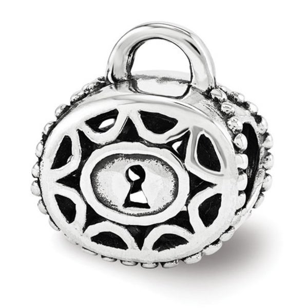 Sterling Silver Reflections Filigree Padlock Bead (4mm Diameter Hole)