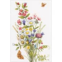"""12.25""""X18.5"""" 27 Count - Lanarte Field Flowers On Cotton Counted Cross Stitch Kit"""