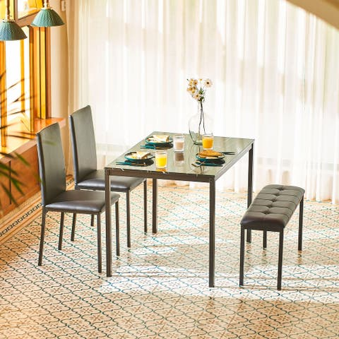 CO-Z 4pc Faux Marble Dining Table, Bench and High Back Chair Set