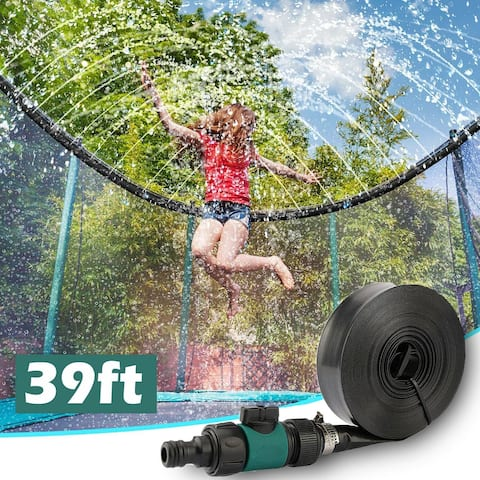 Trampoline Sprinkler 39FT Outdoor Water Play Toys for Kids Waterpark Summer Toys Backyard Water Games Sprinkler for Trampoline