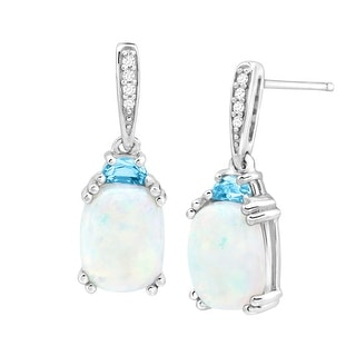 3 ct Natural Opal & Blue Topaz Drop Earrings with Diamonds in Sterling Silver - White