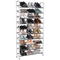 Costway 10-Tier 50 Pairs Shoe Rack Tower Storage Organizer chromed Steel Home Furniture