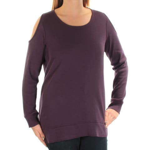 STYLE & CO Womens Purple Thermal Long Sleeve Scoop Neck Top Plus Size: OX