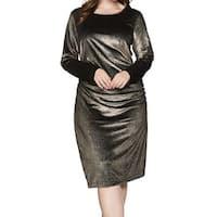 RACHEL Rachel Roy Gold Womens Size 3X Plus Velvet Sheath Dress