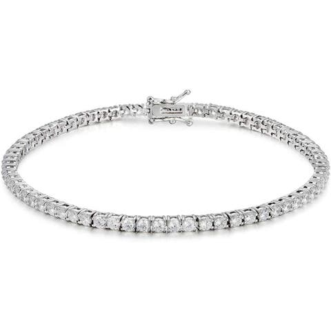 NYC Sterling 3mm Round Cubic Zirconia Classic Tennis Bracelet
