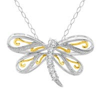 Dragonfly Pendant with Diamonds in 22K Gold-Plated Sterling Silver