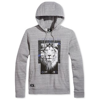 LRG NEW Gray Mens Size Large L Lion Logo Two-Pocket Hooded Sweater