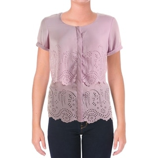 NY Collection Womens Chiffon Layered Button-Down Top - M