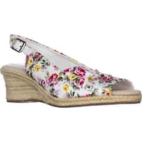 Easy Street Kindly Slingback Wedge Espadrilles, White Floral