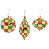 Pack of 6 Decorative Glass Checkered Style Ornament