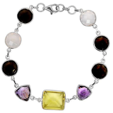 Quartz , Amethyst Sterling Silver Octagon Chain Bracelet by Orchid Jewelry