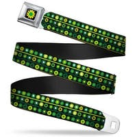 Rz Floral5 Full Color Black Greens Yellow White Rz Floral5 Black Greens Seatbelt Belt