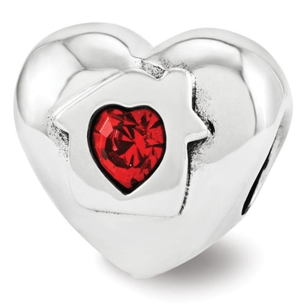 Sterling Silver Reflections Swarovski Elements Love Resides Heart Bead (4mm Diameter Hole)