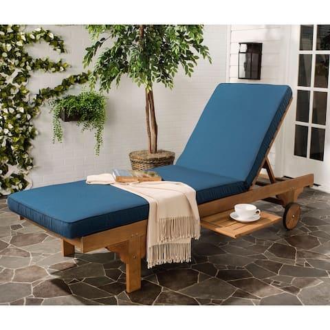 "Safavieh Outdoor Newport Brown/Navy Adjustable Chaise Lounge - 27.6"" x 78.7"" x 14.2"""