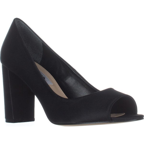 Nina Farlyn Peep-Toe Dress Pumps, Black Luster - 8.5 us / 38.5 eu