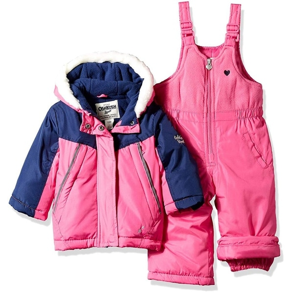 31fee2b25 Shop OshKosh Girls 12-24 Months Faux Fur Color-blocked Snowsuit - Fuchsia -  12 Months - Free Shipping Today - Overstock - 26267837