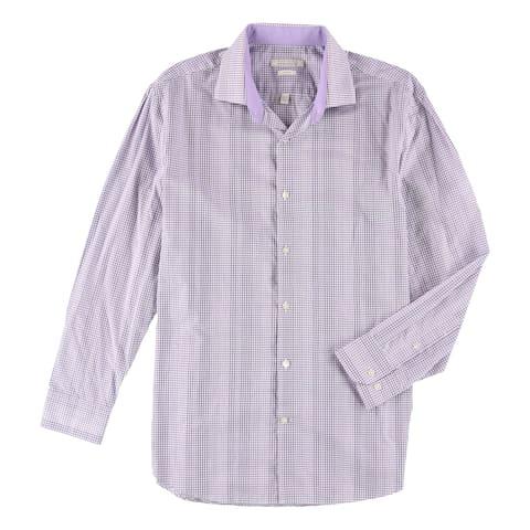 "Perry Ellis Mens Check Button Up Dress Shirt - 16.5"" Neck 32-33"" Sleeve"