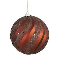 Vickerman M112128 Copper Matte-Glitter Swirl Ball Ornament - 8 in.