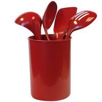 Reston Lloyd 82960 5-Piece Calypso Basics Utensil Holder Set, Red