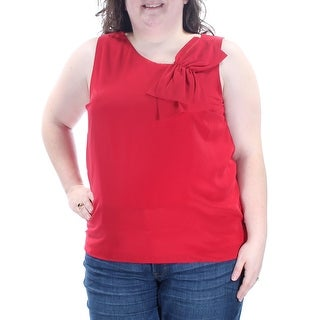 Womens Red Sleeveless Jewel Neck Casual Top Size 2XS