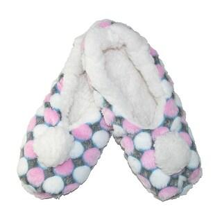 Minx NY Women's Super Fuzzy Dotz Slippers with Poms