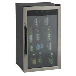 Avanti 3.0 Cu Ft Showcase Beverage Cooler Refrigerator, Black/Stainless Steel