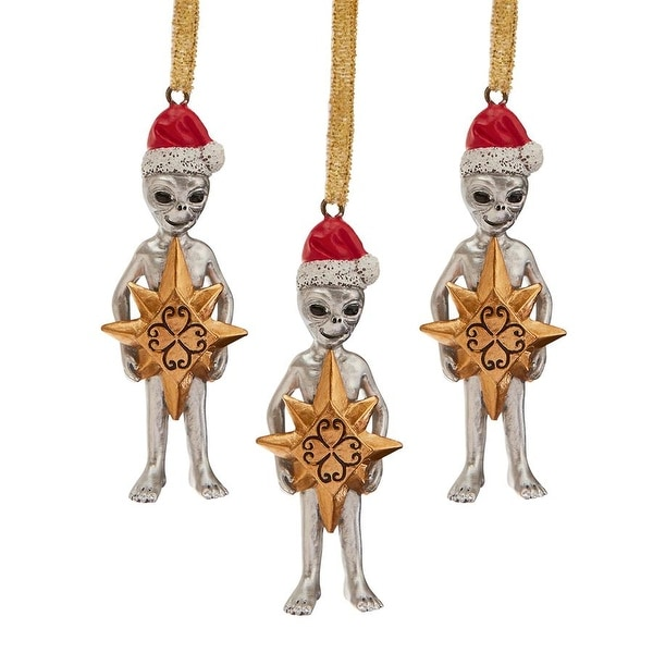 Design Toscano Wiseman Star Christmas Alien Holiday Ornament: Set of Three. Opens flyout.