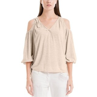 Max Studio London Knit Cold-Shoulder Shirt Top