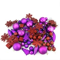 125-Piece Club Pack of Shatterproof Purple Passion Christmas Ornaments
